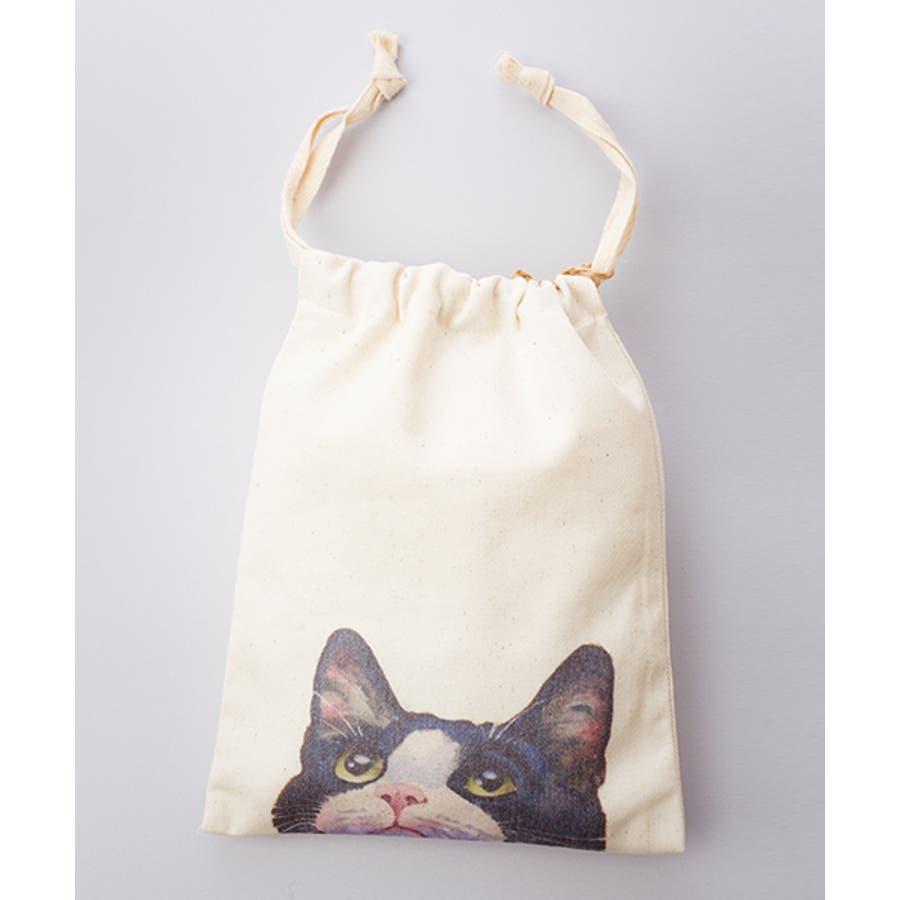【刺繍】キャンバス地のプリント巾着袋【ねこ】【ブランド:fillil