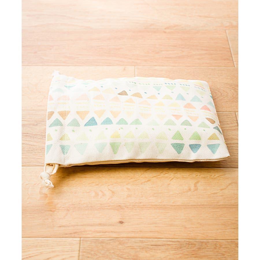 【刺繍】キャンバス地のプリント巾着袋【幾何学模様】【ブランド