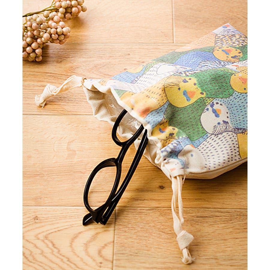 【刺繍】キャンバス地のプリント巾着袋【bird】【ブランド:fillil