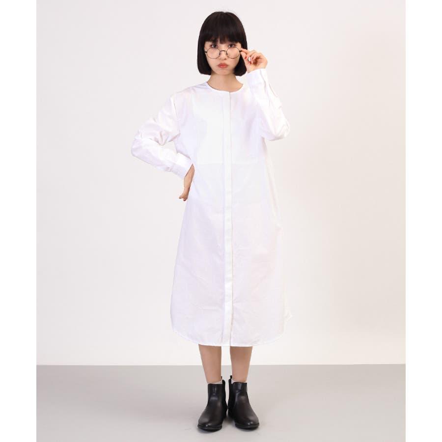 ノーカラーホワイトシャツワンピ4000-1124 五穀