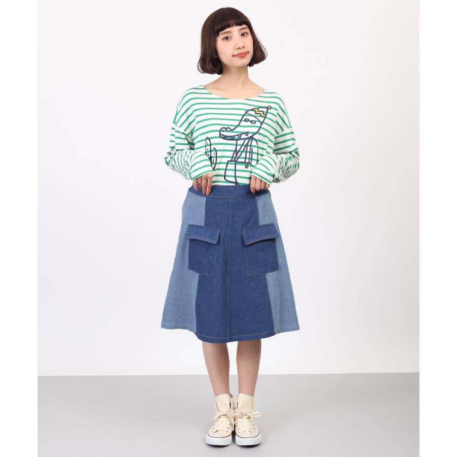 お手頃価格が嬉しい 2色デニムフロントポッケ台形スカート4191-0122 縛帯