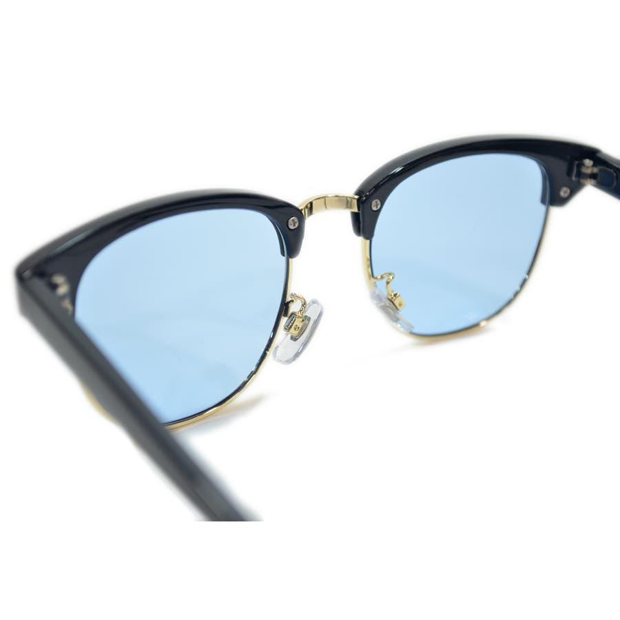 【全4色】 伊達メガネ サングラス クラブマスタータイプ ブロウ サーモント 薄い色 ライトカラーレンズ メンズ レディースカラーレンズサングラス 10