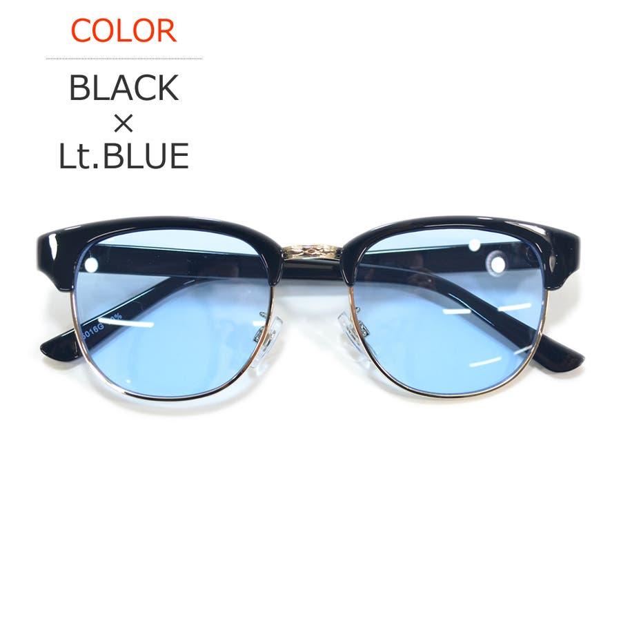 【全4色】 伊達メガネ サングラス クラブマスタータイプ ブロウ サーモント 薄い色 ライトカラーレンズ メンズ レディースカラーレンズサングラス 60