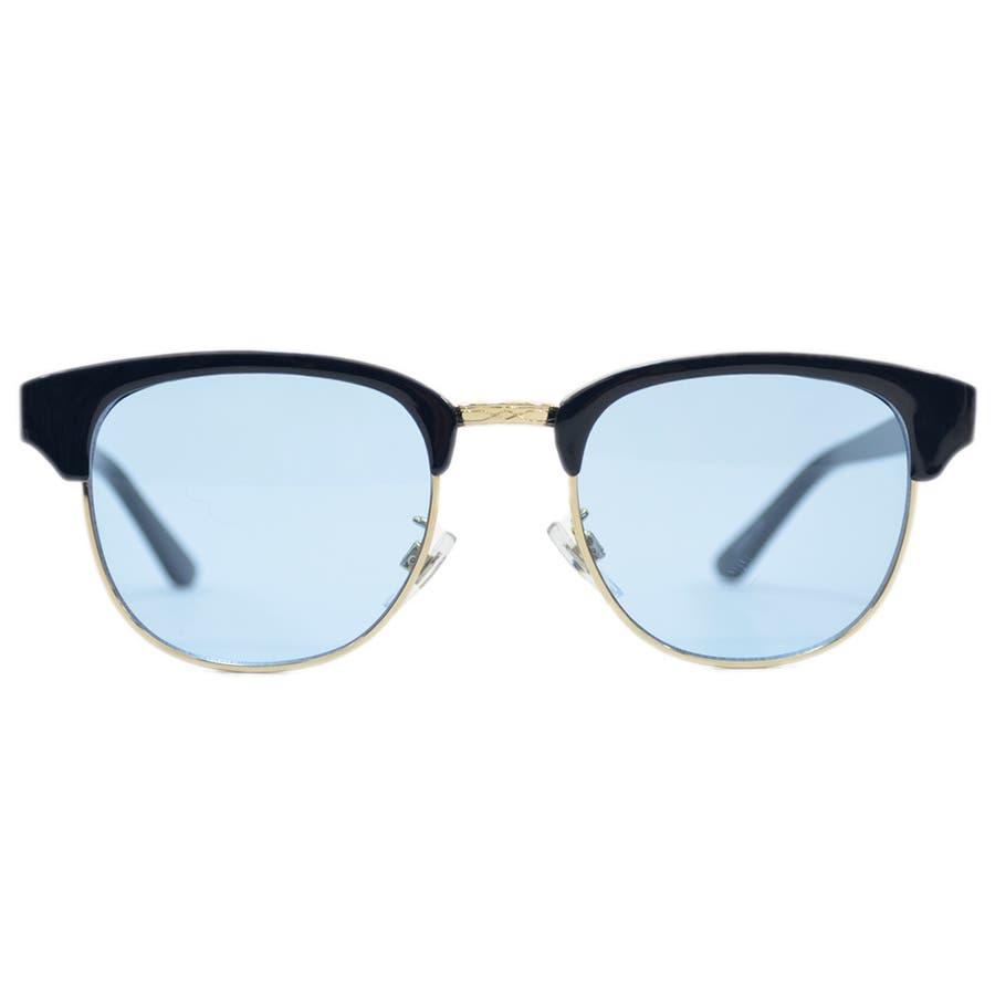 【全4色】 伊達メガネ サングラス クラブマスタータイプ ブロウ サーモント 薄い色 ライトカラーレンズ メンズ レディースカラーレンズサングラス 7