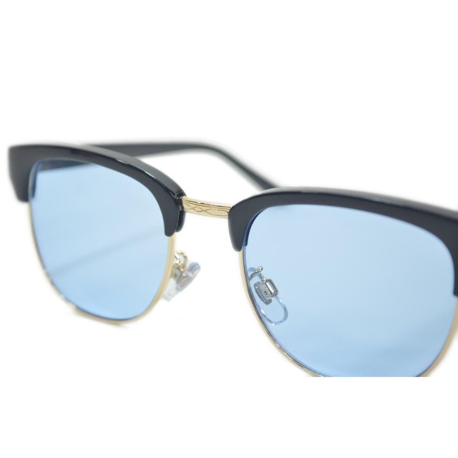【全4色】 伊達メガネ サングラス クラブマスタータイプ ブロウ サーモント 薄い色 ライトカラーレンズ メンズ レディースカラーレンズサングラス 9
