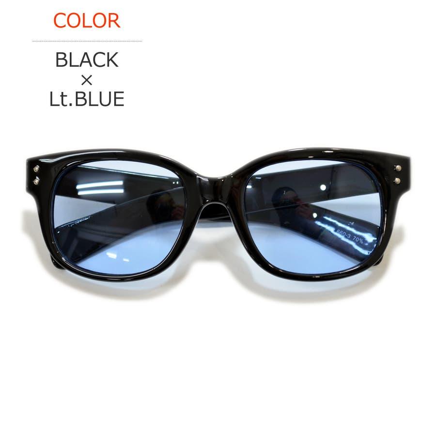 【全7色】 伊達メガネ サングラス ウェリントン ライトカラーレンズ 薄い色 ダテメガネ メンズ レディース カラーレンズサングラスUVカット 60