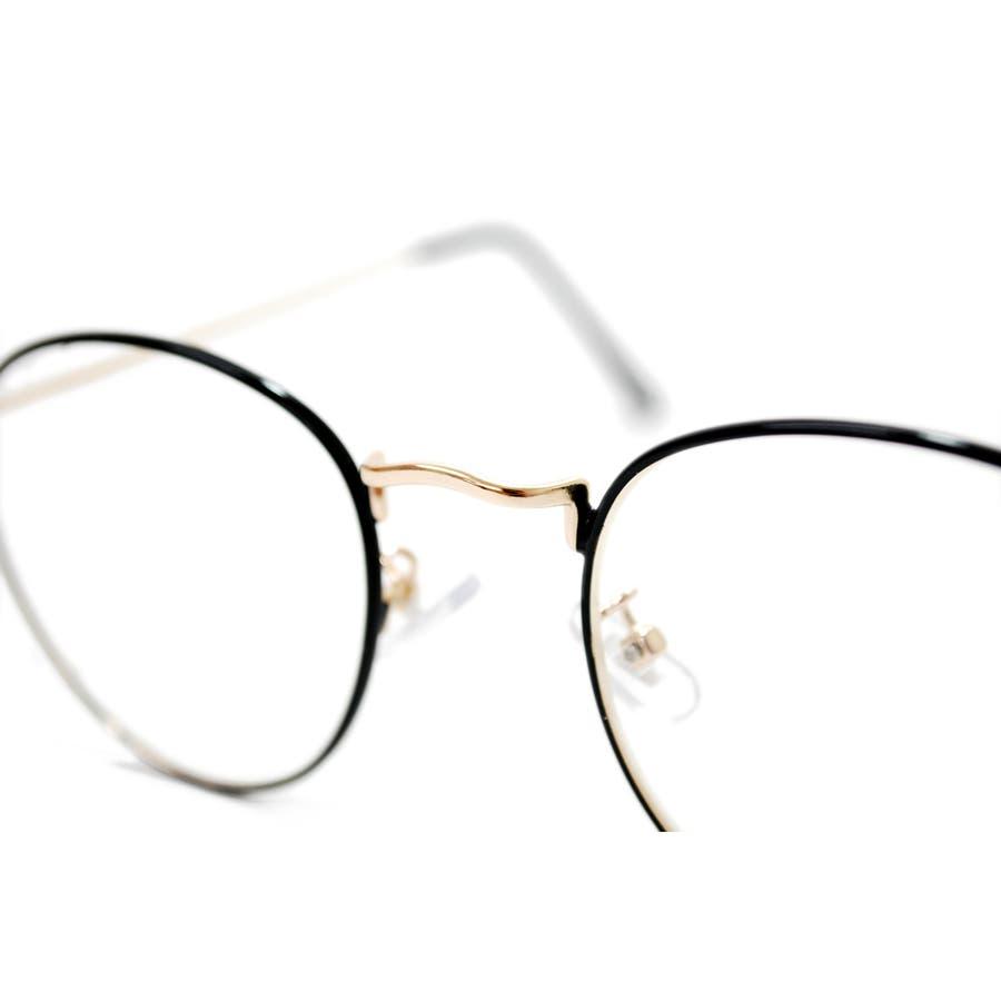 【全3色】 伊達メガネ サングラス 丸メガネ ボストン 細ぶち 細いフレーム メンズ レディース 10