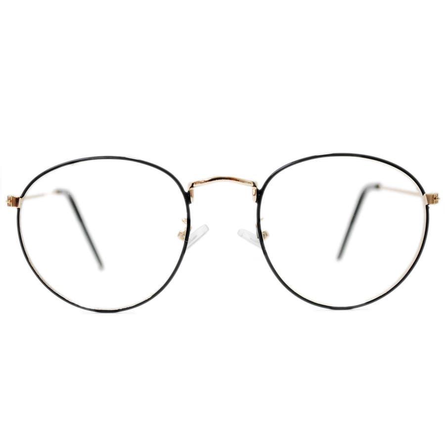 【全3色】 伊達メガネ サングラス 丸メガネ ボストン 細ぶち 細いフレーム メンズ レディース 8
