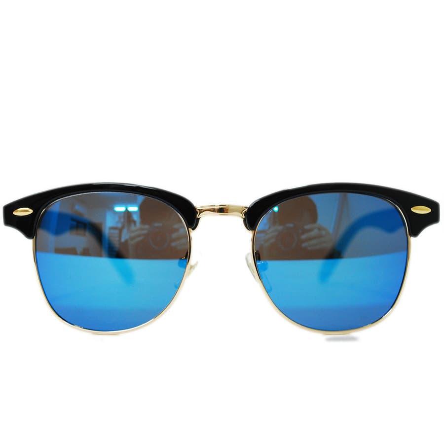 【全4色】 伊達メガネ サングラス クラブマスタータイプ ブロウ サーモント ミラーレンズ 伊達めがね だてめがね メンズ レディースレンズ 丸型 6
