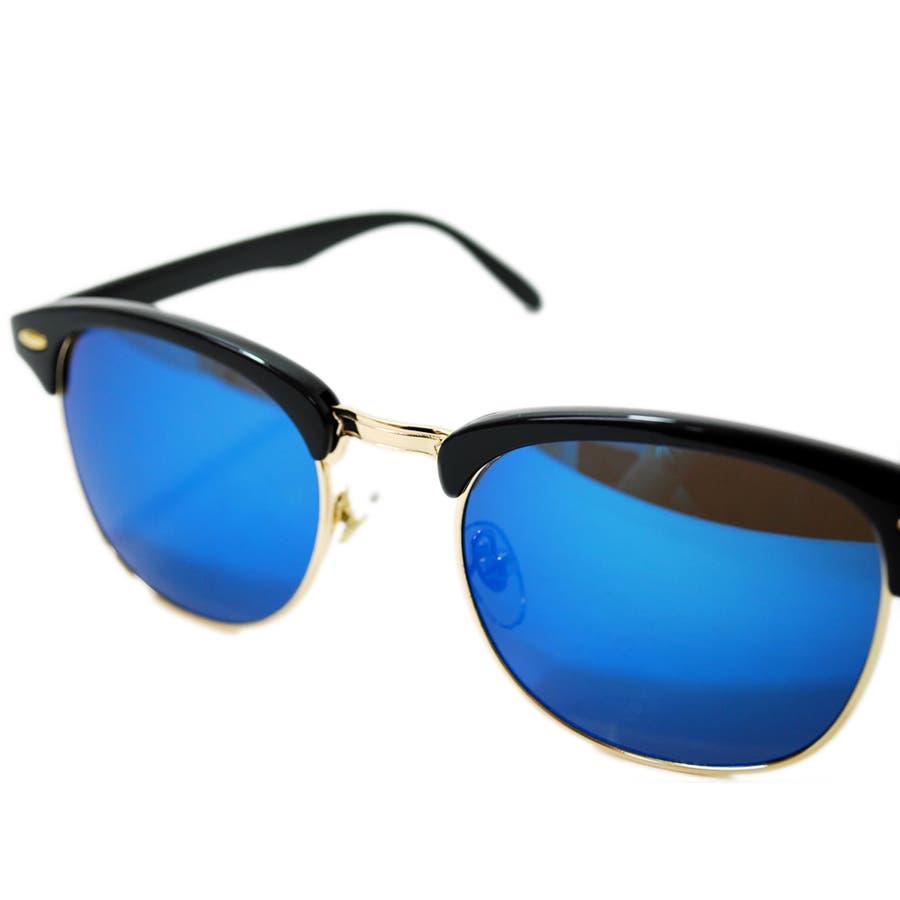 【全4色】 伊達メガネ サングラス クラブマスタータイプ ブロウ サーモント ミラーレンズ 伊達めがね だてめがね メンズ レディースレンズ 丸型 9