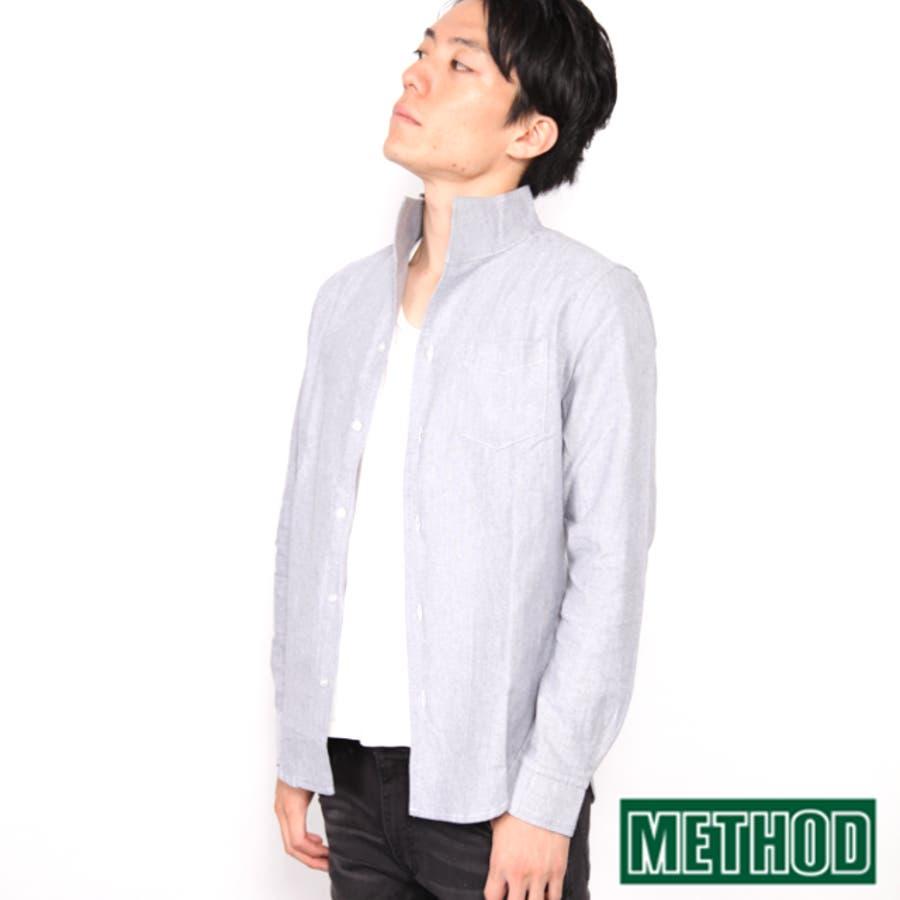 細部までのコダワリを感じます OX オックスフォード イタリアンカラーシャツ きれいめシャツ イタリアンカラー きれいめカジュアルメンズ モノトーンコーデ METHODメソッド 撃墜