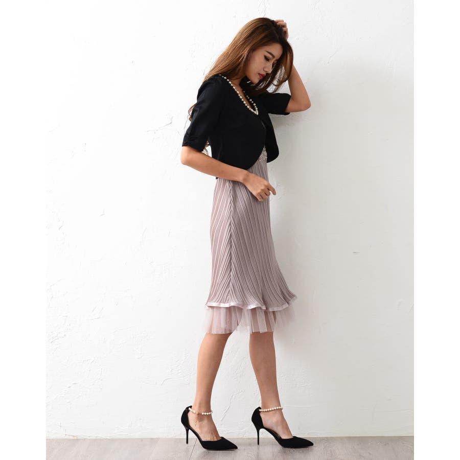 6ed4a19db49c5  パール装飾ラウンドネック美ラインパーティボレロ ショート二次会カーデカーデガンドレスかわいい