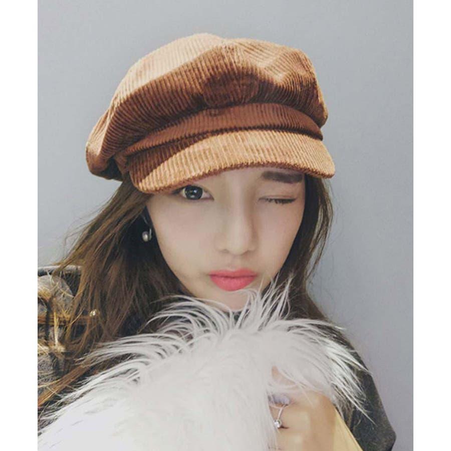 キャスケット帽 レディース 秋冬 コーデュロイキャップ 無地 つば付き 帽子 小顔効果 33