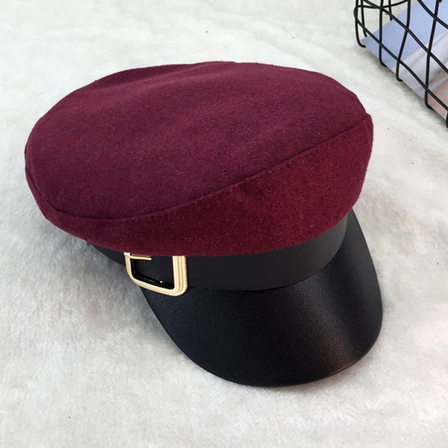 キャスケット レディース 小顔効果 キャップ 無地 ハンチング帽 つば付き 秋冬 帽子 3