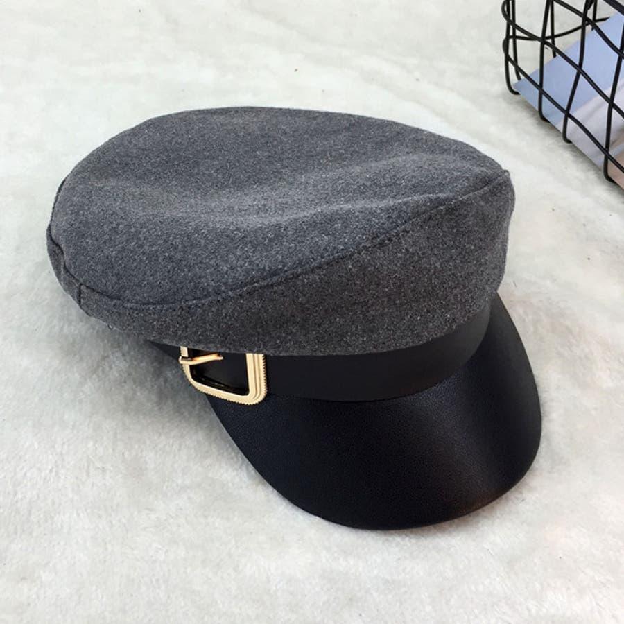 キャスケット レディース 小顔効果 キャップ 無地 ハンチング帽 つば付き 秋冬 帽子 4