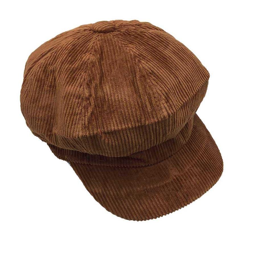 キャスケット帽 レディース 秋冬 コーデュロイキャップ 無地 つば付き 帽子 小顔効果 6