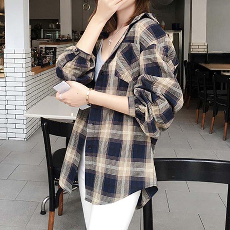 タータンチェック シャツ 春 ゆったりシャツ レディース 長袖シャツ 大きいサイズ 64