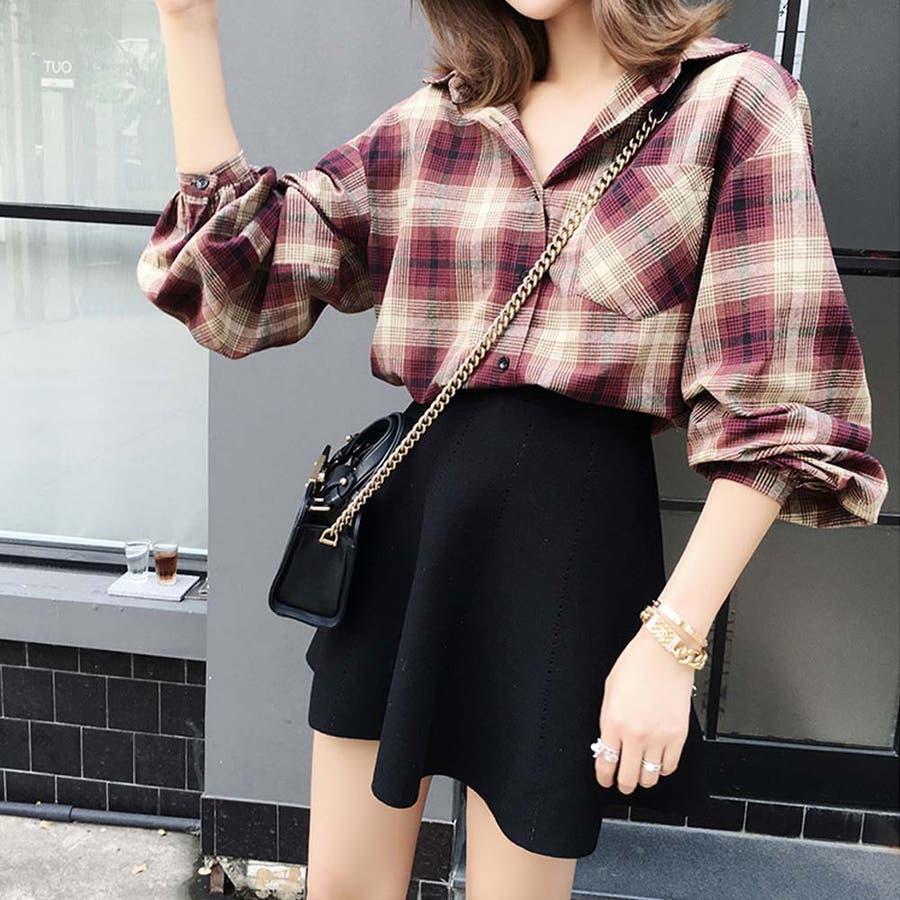 タータンチェック シャツ 春 ゆったりシャツ レディース 長袖シャツ 大きいサイズ 3
