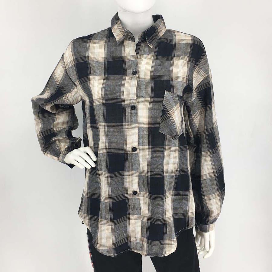 タータンチェック シャツ 春 ゆったりシャツ レディース 長袖シャツ 大きいサイズ 5