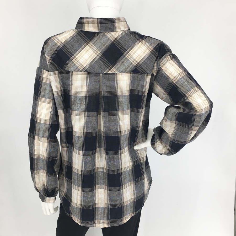 タータンチェック シャツ 春 ゆったりシャツ レディース 長袖シャツ 大きいサイズ 7