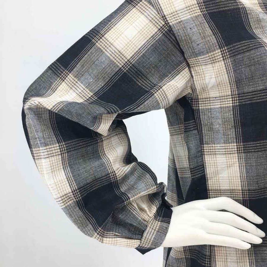 タータンチェック シャツ 春 ゆったりシャツ レディース 長袖シャツ 大きいサイズ 8