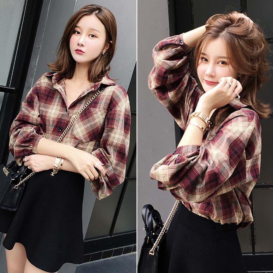 タータンチェック シャツ 春 ゆったりシャツ レディース 長袖シャツ 大きいサイズ 9