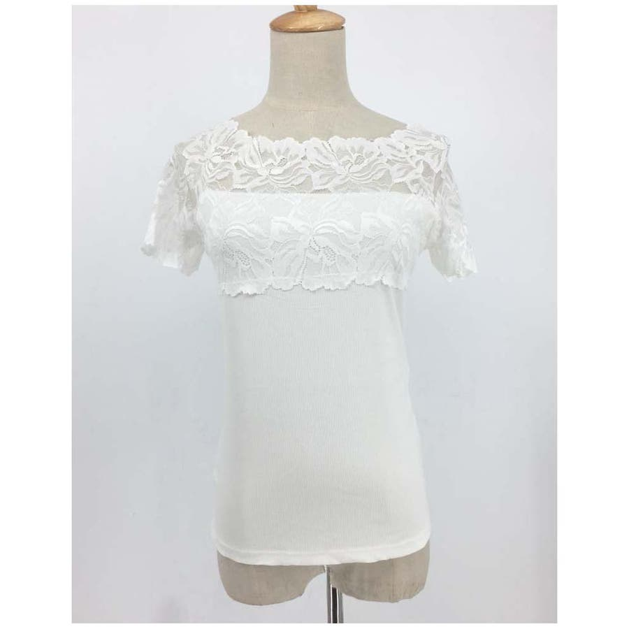 レース インナー Tシャツ半袖 花柄刺繍 重ね着 下着 アンダーウエア プルオーバー 人気 3