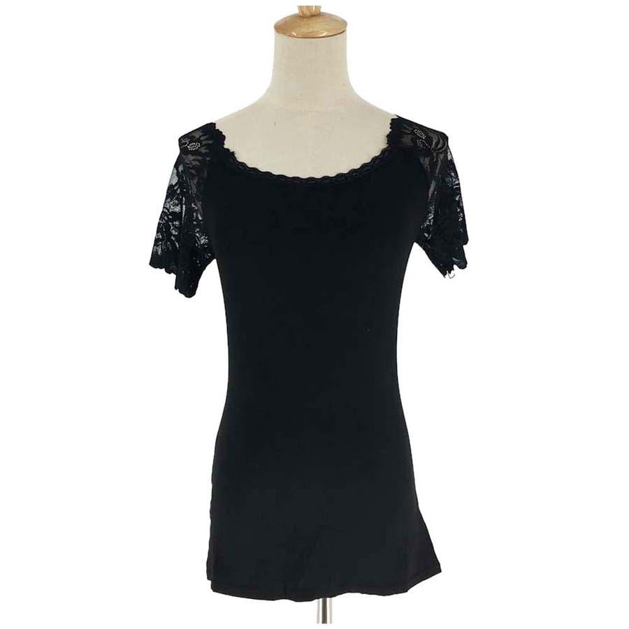 レース インナー Tシャツ半袖 花柄刺繍 重ね着 下着 アンダーウエア プルオーバー 人気 4