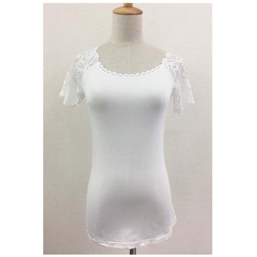 レース インナー Tシャツ半袖 花柄刺繍 重ね着 下着 アンダーウエア プルオーバー 人気 5