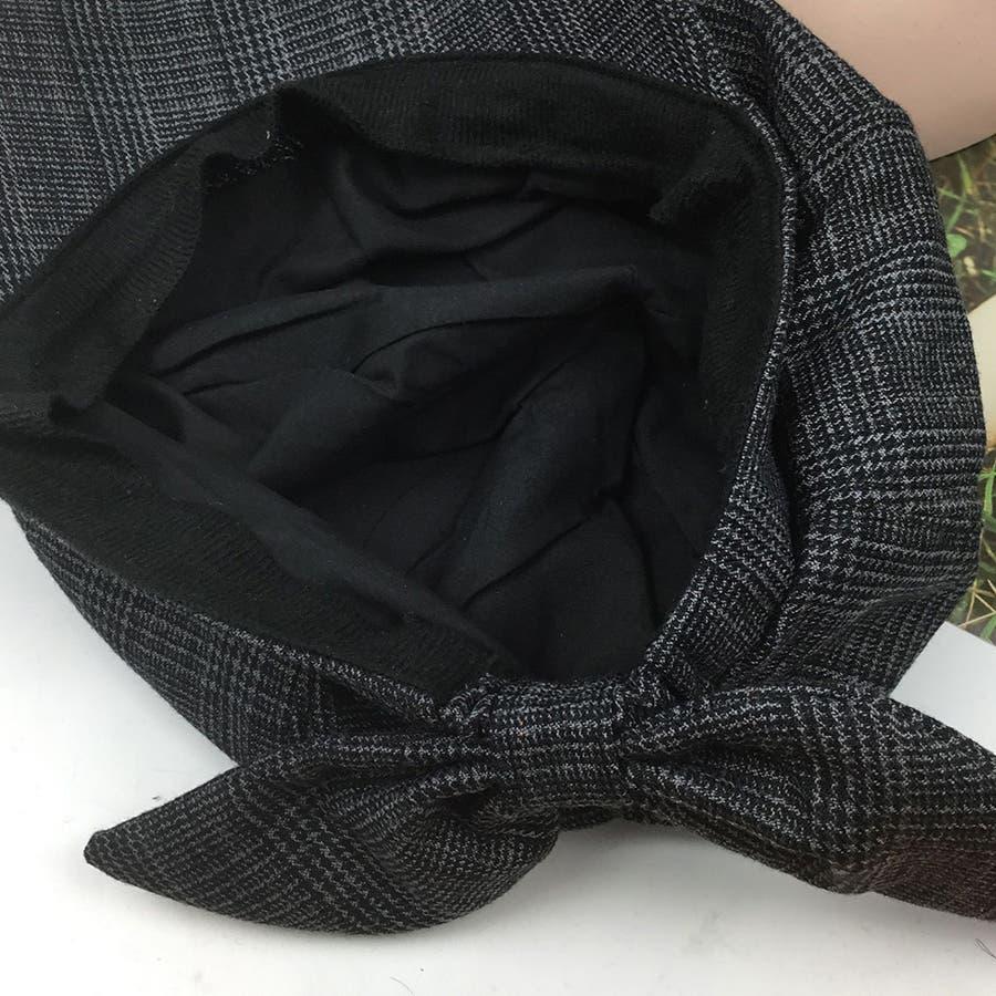 リボン付きキャスケット レディース 帽子 秋冬 キャスケット グレンチェック ハット つば付き 3