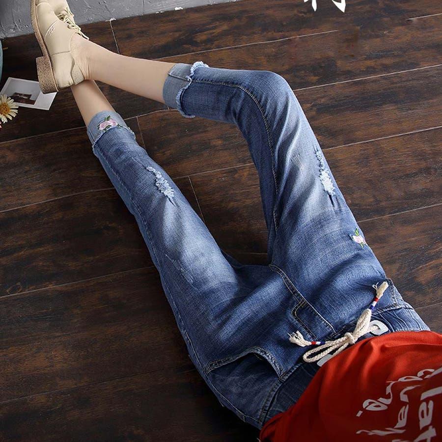 デニムパンツ 7分 ズボン ゴムウエスト ダメージデニム レディース ゆるいジーンズ 59