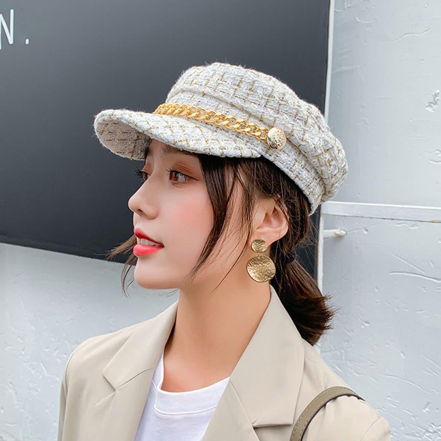 帽子 レディース キャスケット チェック柄 おしゃれ?可愛い マリンキャップ 大人 飾りボタン 16