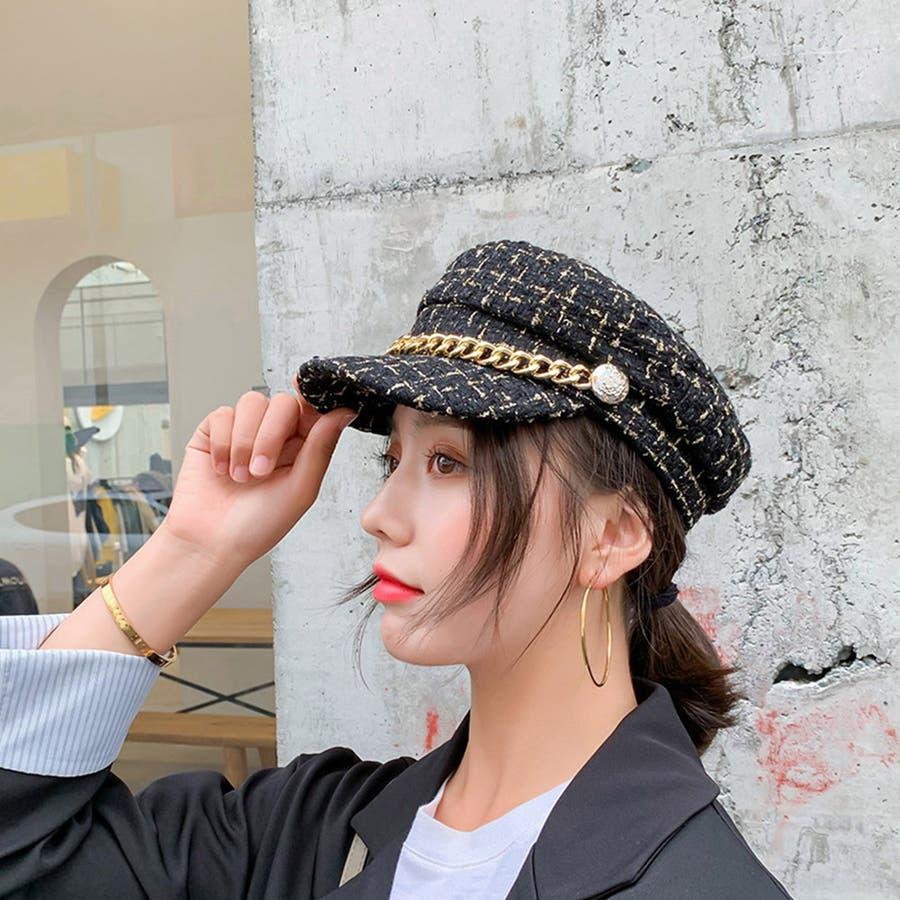 帽子 レディース キャスケット チェック柄 おしゃれ?可愛い マリンキャップ 大人 飾りボタン 3