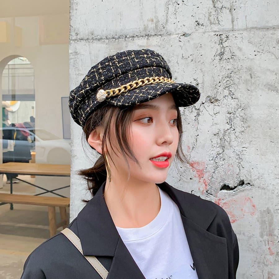 帽子 レディース キャスケット チェック柄 おしゃれ?可愛い マリンキャップ 大人 飾りボタン 4