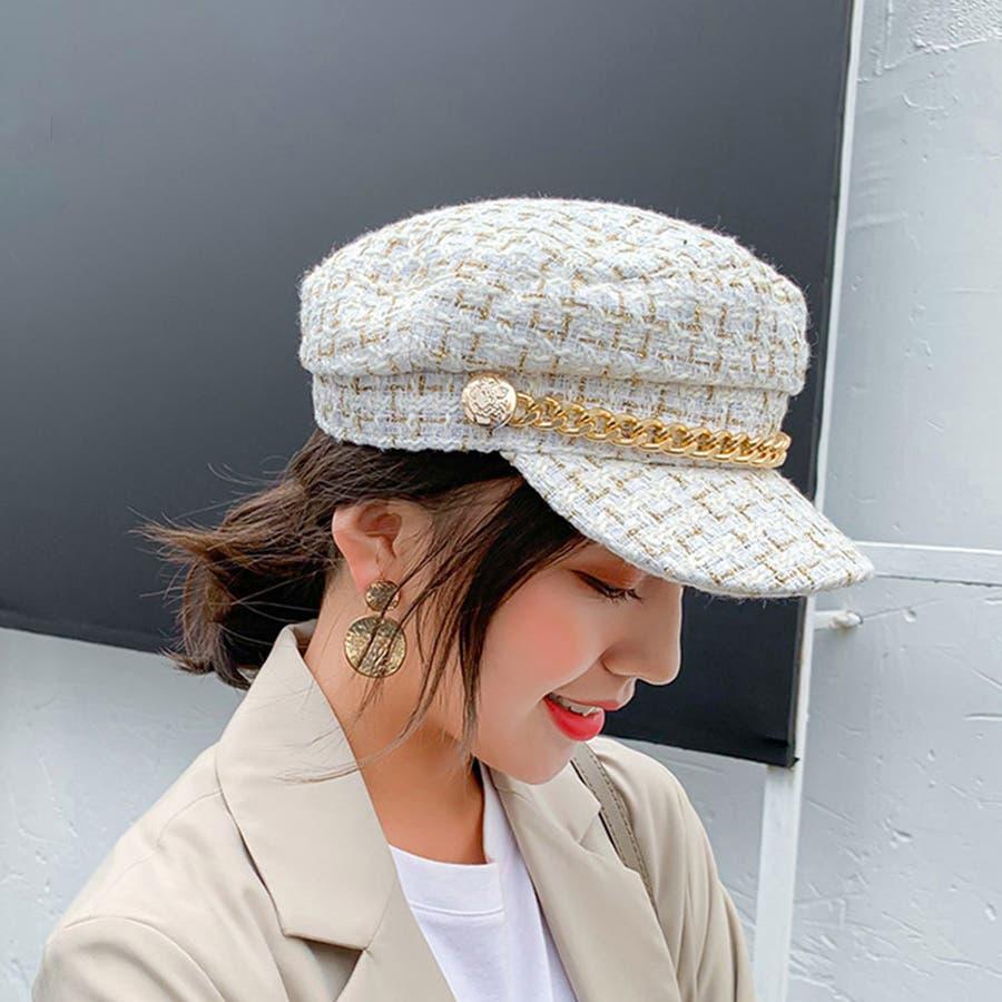 帽子 レディース キャスケット チェック柄 おしゃれ?可愛い マリンキャップ 大人 飾りボタン 5