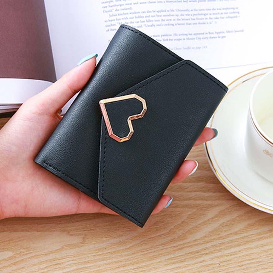 三つ折り財布 レディース コンパクト 財布 ミニ ハートモチーフ 札入れ 小銭入れなし 21