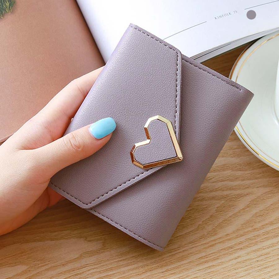 三つ折り財布 レディース コンパクト 財布 ミニ ハートモチーフ 札入れ 小銭入れなし 80
