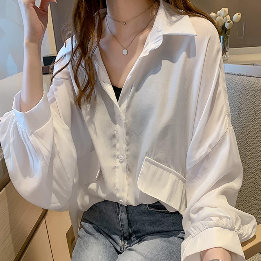 パフスリーブ シャツブラウス チュニックシャツ 型紙 ブラウス 白 ロングシャツ 長袖 無地 トップス ホワイト ロング丈ブラウス 16