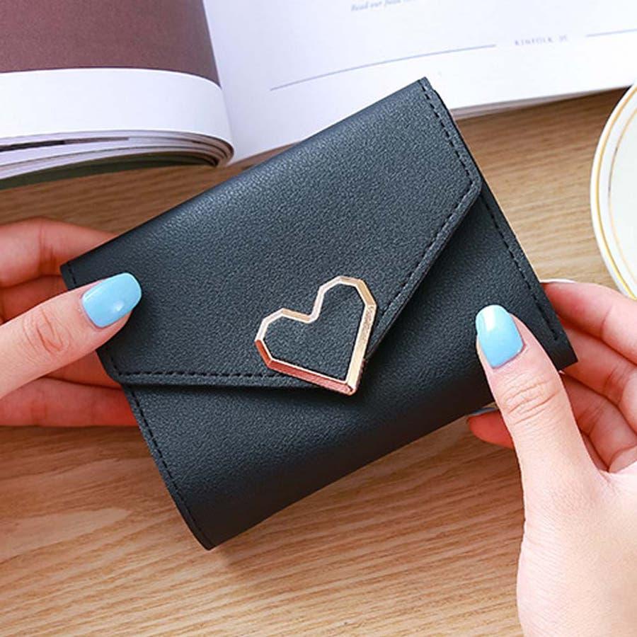 三つ折り財布 レディース コンパクト 財布 ミニ ハートモチーフ 札入れ 小銭入れなし 2