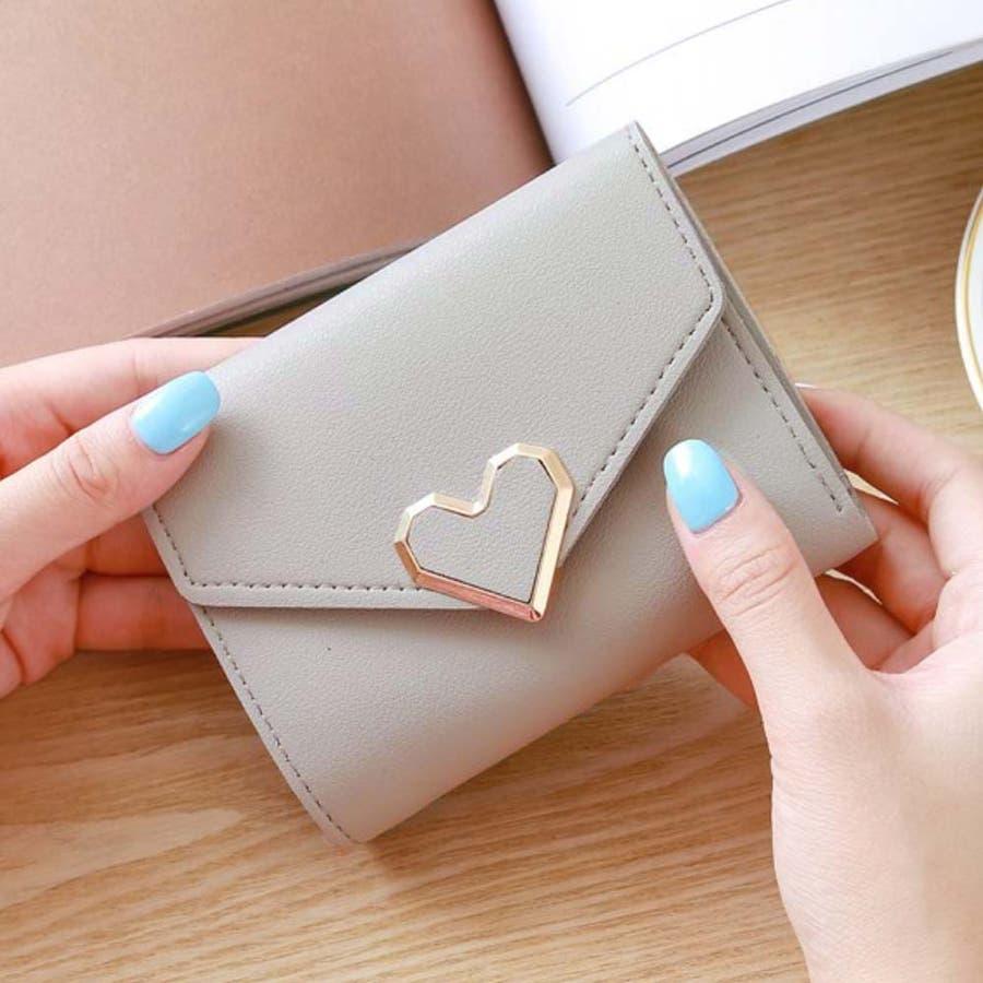 三つ折り財布 レディース コンパクト 財布 ミニ ハートモチーフ 札入れ 小銭入れなし 3