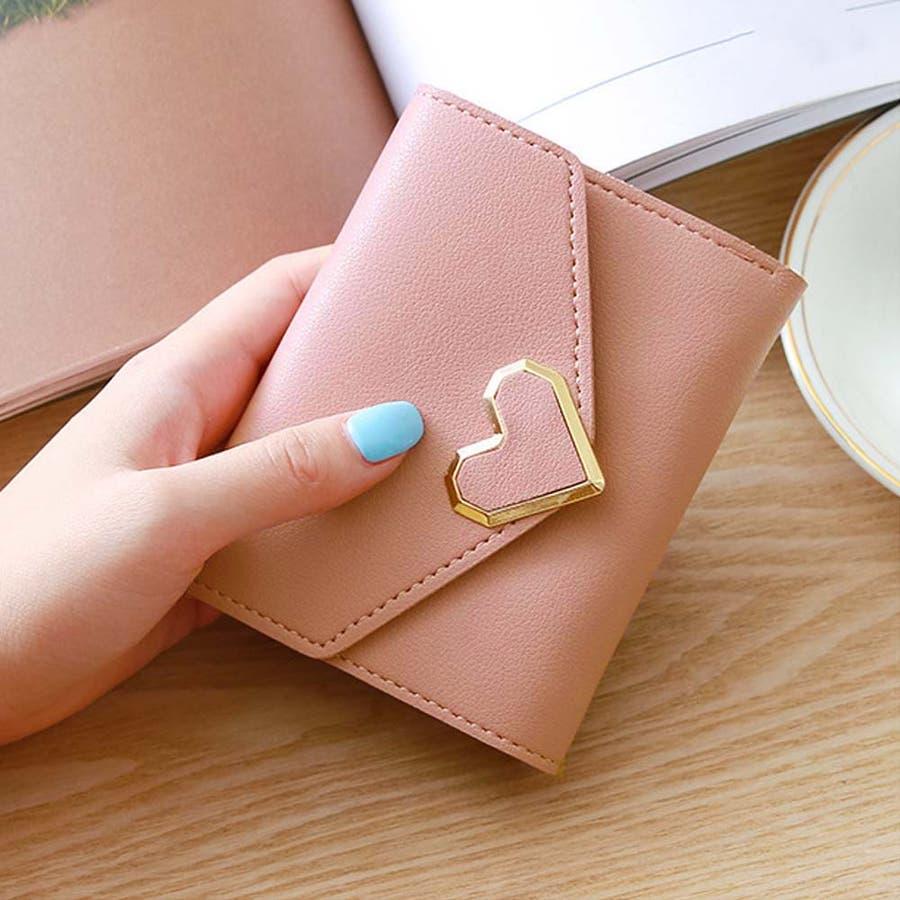 三つ折り財布 レディース コンパクト 財布 ミニ ハートモチーフ 札入れ 小銭入れなし 4