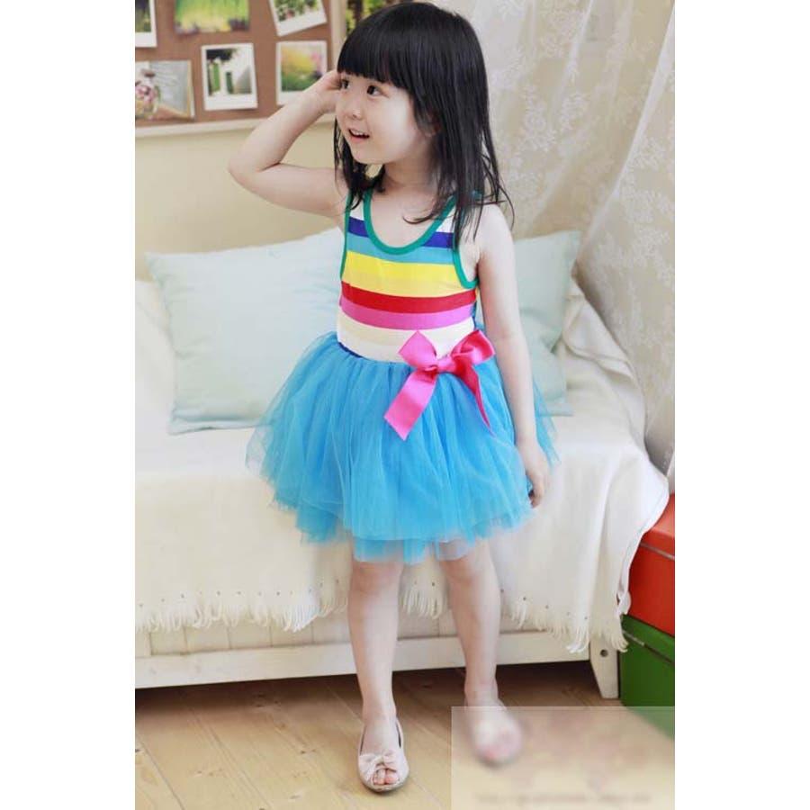 女の子ワンピース/子供服 韓国 子供服女の子ボーダーワンピースチュールワンピ 6colors 3