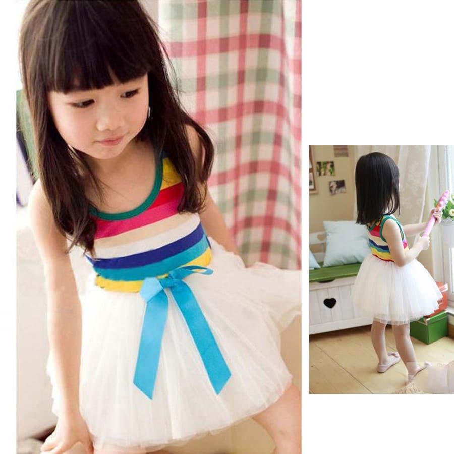 女の子ワンピース/子供服 韓国 子供服女の子ボーダーワンピースチュールワンピ 6colors 4