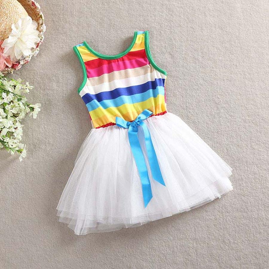 女の子ワンピース/子供服 韓国 子供服女の子ボーダーワンピースチュールワンピ 6colors 5