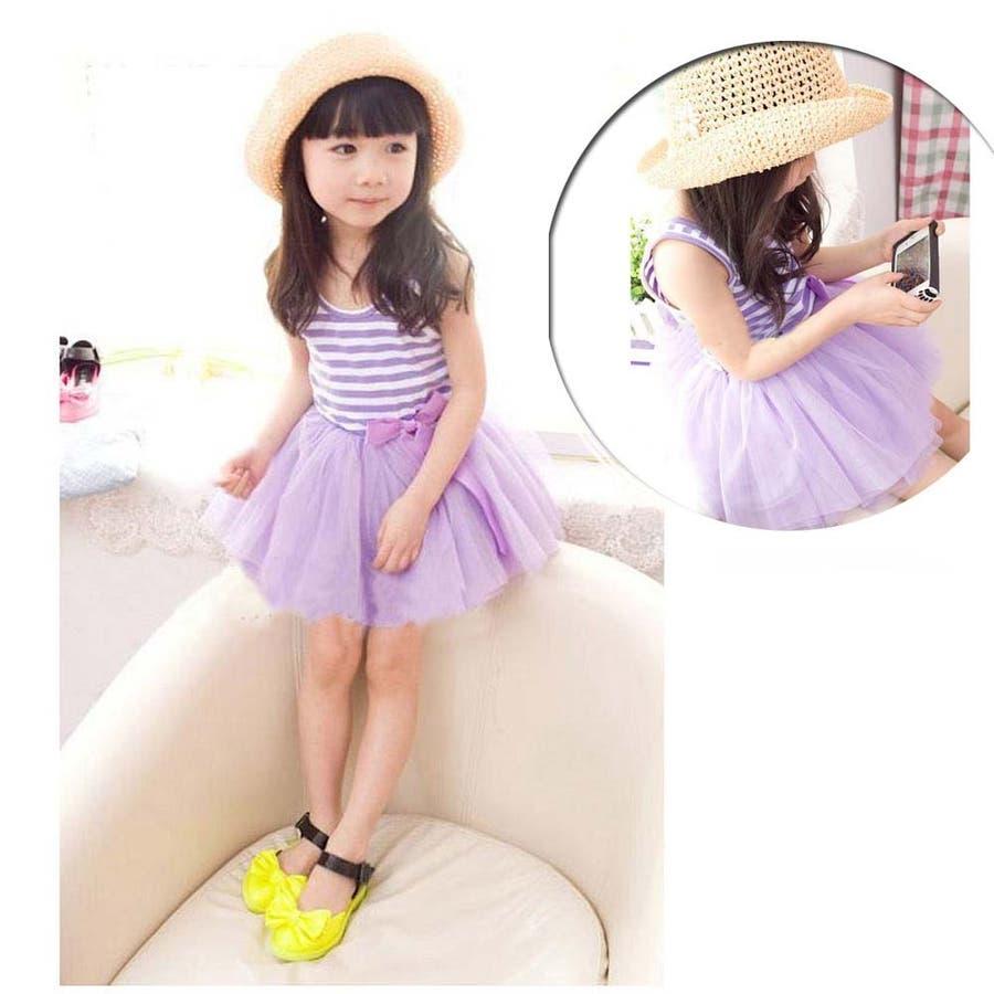 女の子ワンピース/子供服 韓国 子供服女の子ボーダーワンピースチュールワンピ 6colors 6