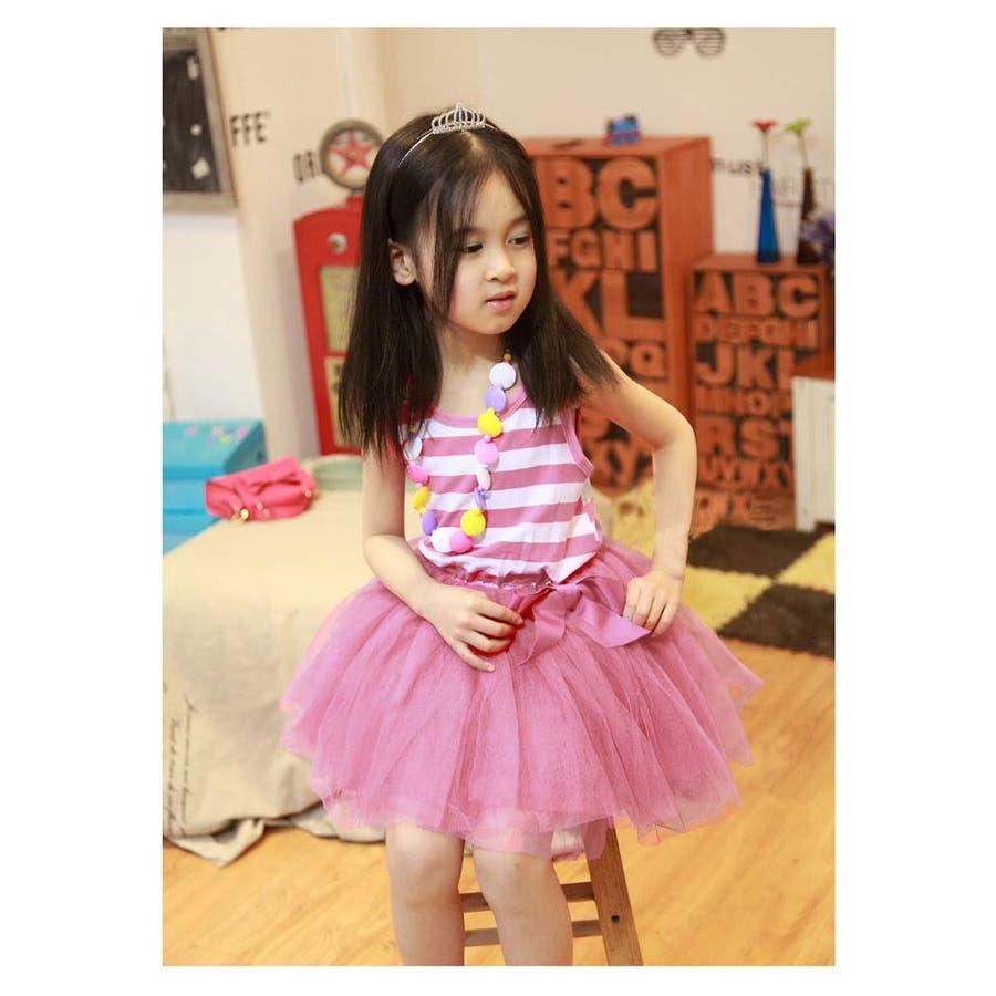 女の子ワンピース/子供服 韓国 子供服女の子ボーダーワンピースチュールワンピ 6colors 8