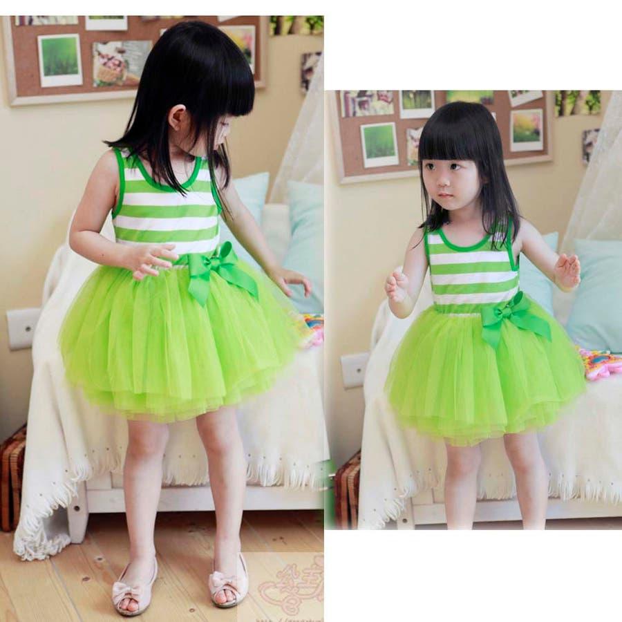 女の子ワンピース/子供服 韓国 子供服女の子ボーダーワンピースチュールワンピ 6colors 10