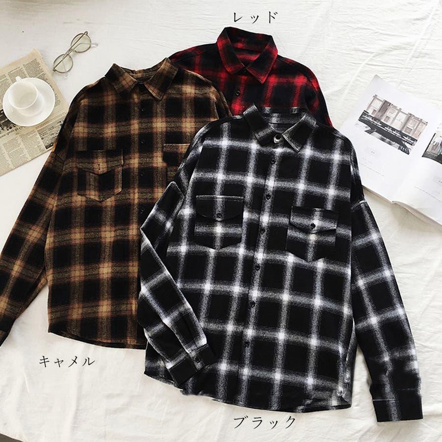 チェックシャツ レディース ネルシャツ ブラウス 長袖 シャツ カジュアル トップス ゆったり 2