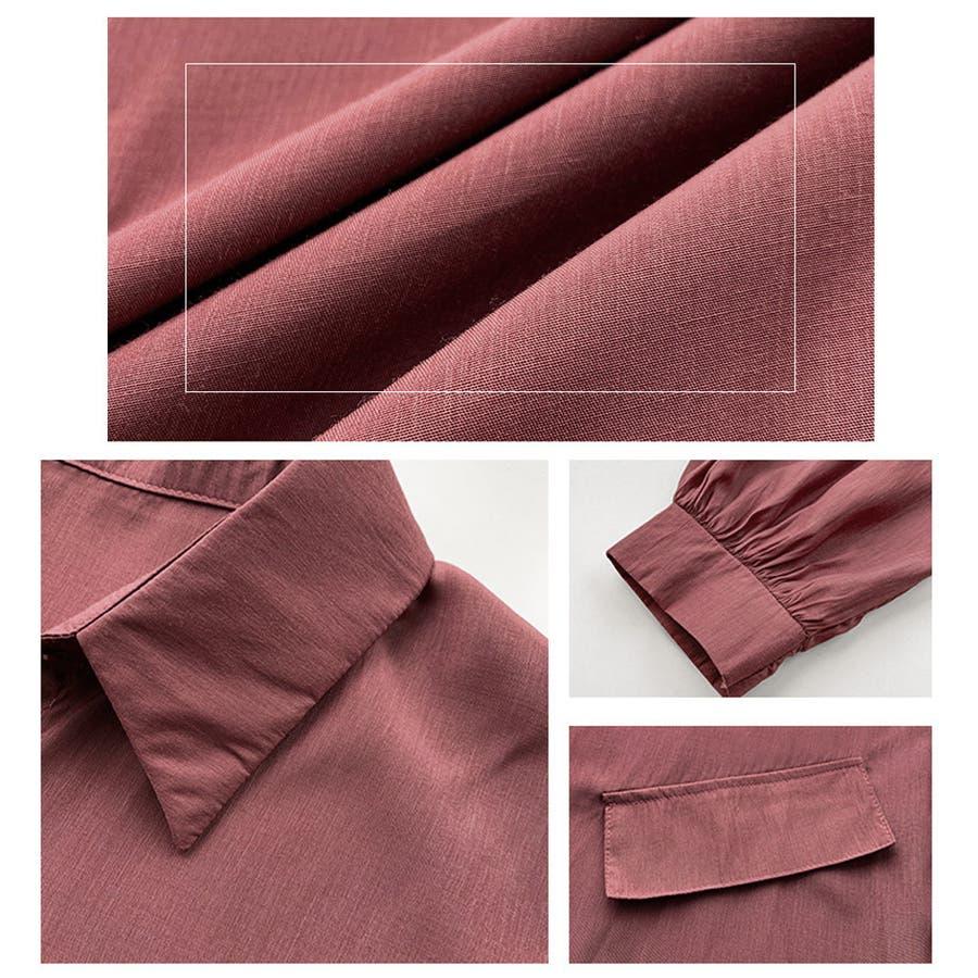 パフスリーブ シャツブラウス チュニックシャツ 型紙 ブラウス 白 ロングシャツ 長袖 無地 トップス ホワイト ロング丈ブラウス 7