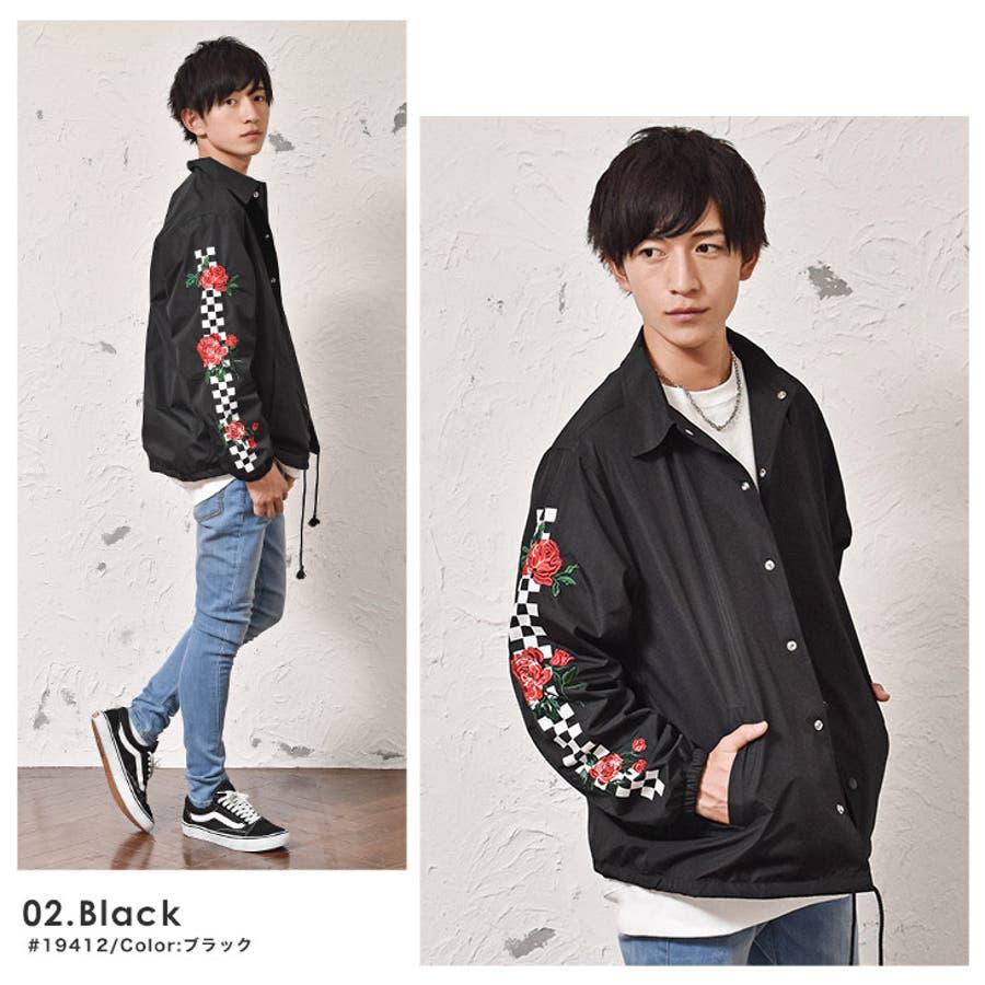 コーチジャケット メンズ コーチ ジャケット チェッカーフラッグ 刺繍 袖プリント 長袖 白 ホワイト 韓国 ファッション 冬